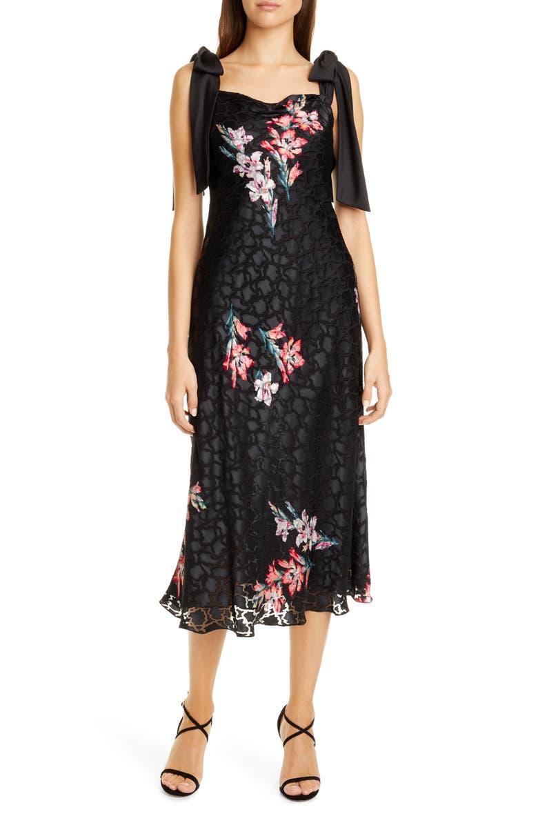 REBECCA TAYLOR Noha Floral Print Tie Shoulder Midi Dress, Main, color, BLACK COMBO