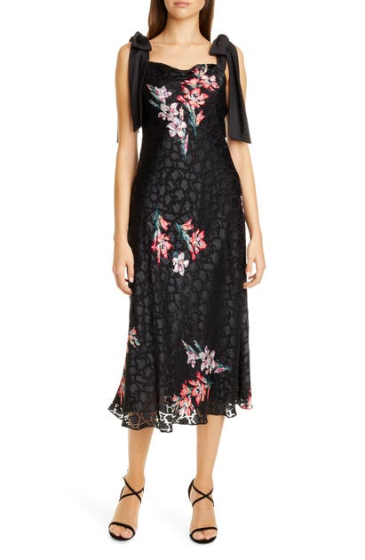 Rebecca Taylor  NOHA FLORAL PRINT TIE SHOULDER MIDI DRESS