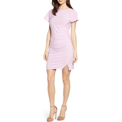 Leith Ruched Minidress, Pink