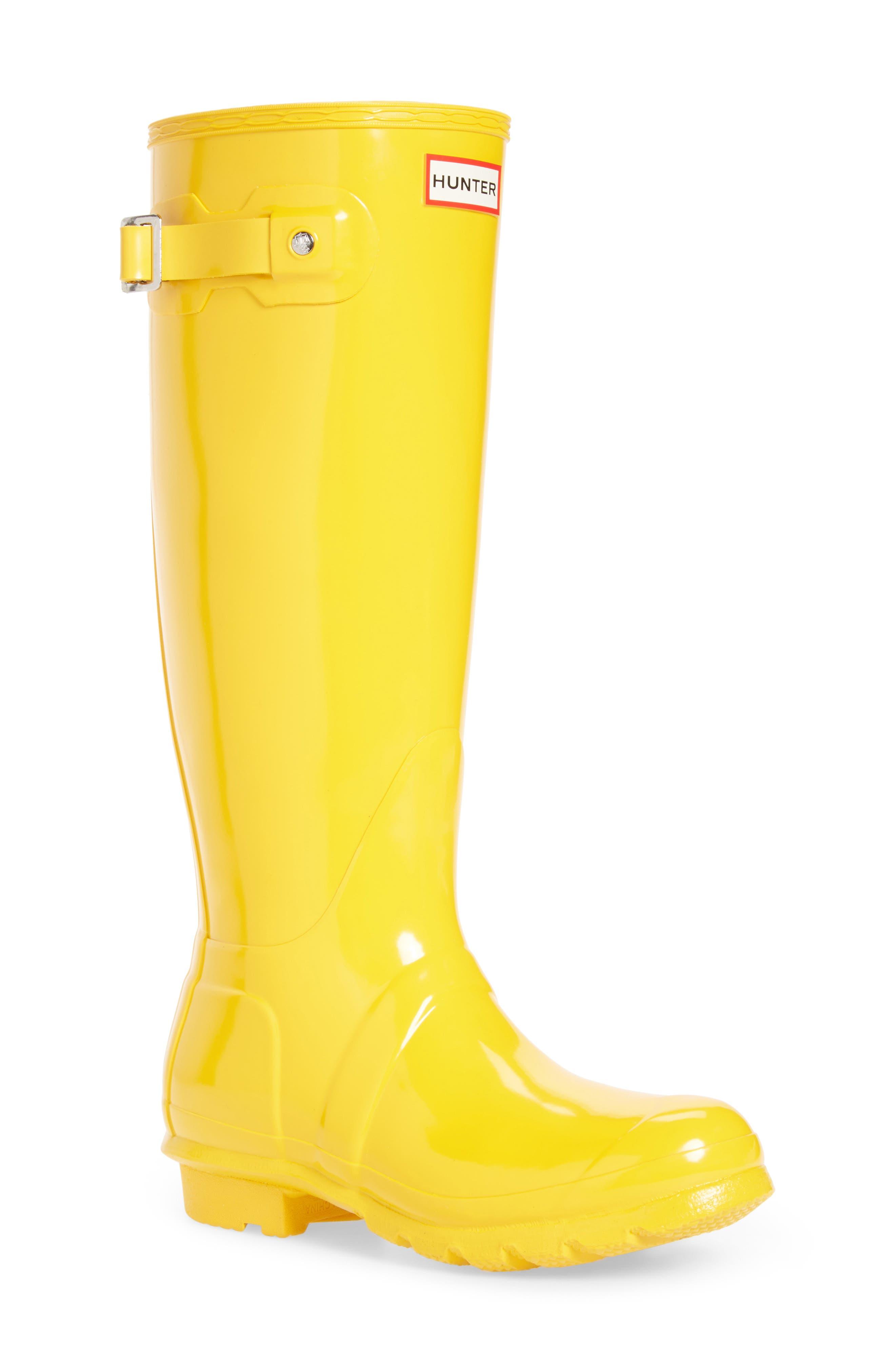 Hunter Original High Gloss Waterproof Boot, Yellow