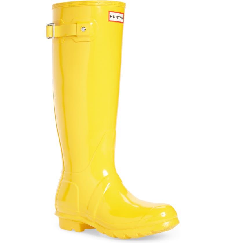 HUNTER Original High Gloss Waterproof Boot, Main, color, YELLOW