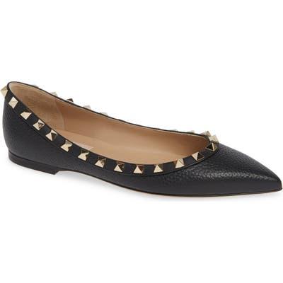 Valentino Garavani Rockstud Pointy Toe Flat - Black