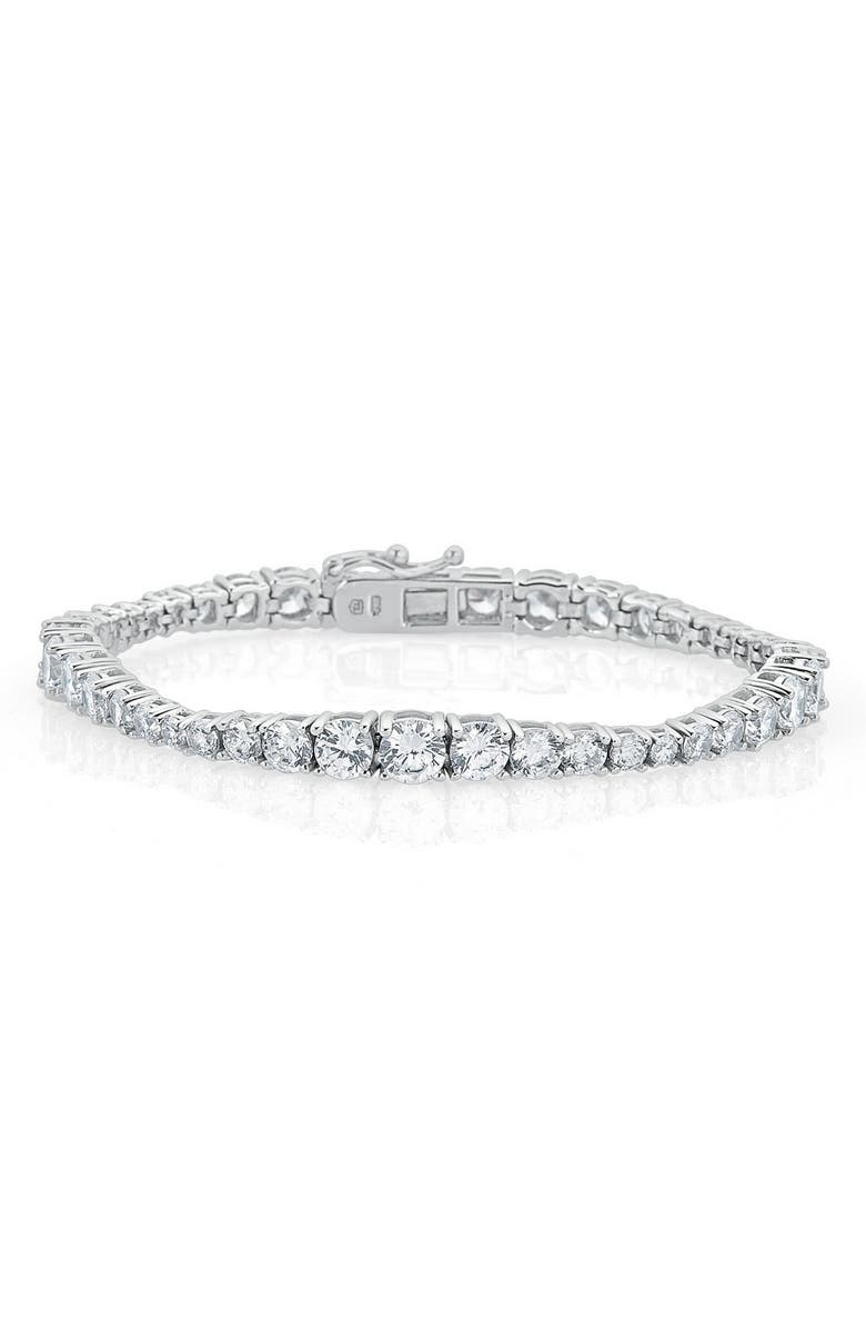 THOMAS LAINE Karolyne Tapered Tennis Bracelet, Main, color, CLEAR/ SILVER