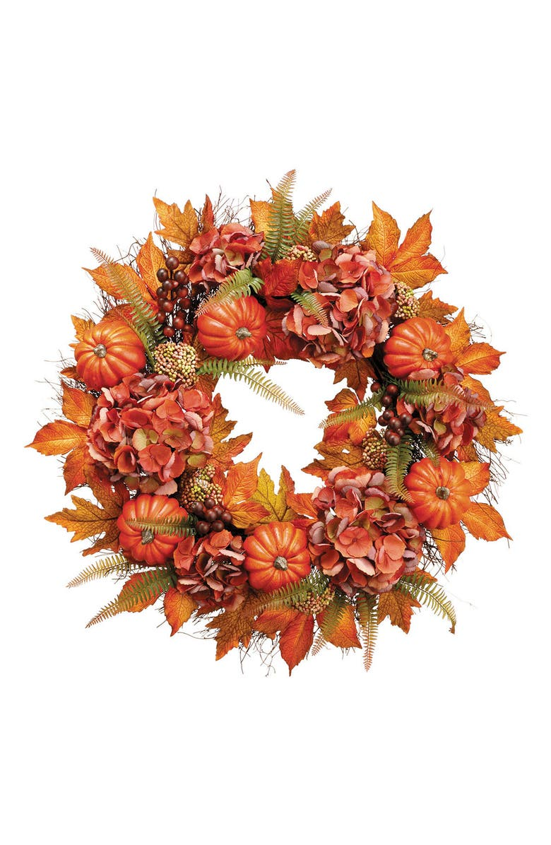 ALLSTATE Hydrangea Pumpkin Wreath, Main, color, 800