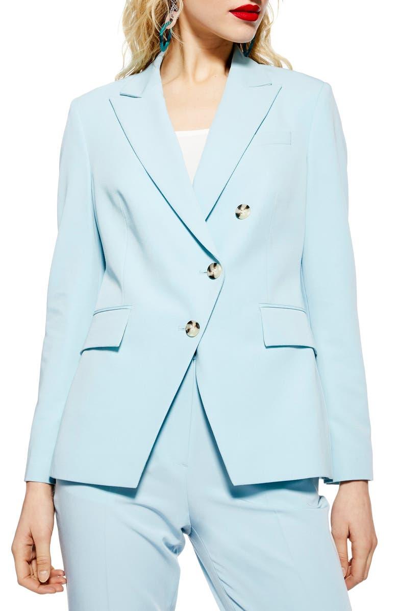 TOPSHOP Nanette Asymmetrical Jacket, Main, color, LIGHT BLUE