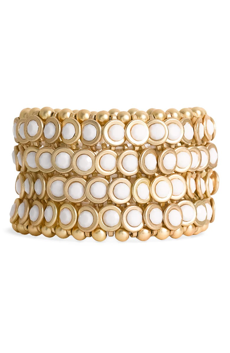 TASHA Bezel Set Stone Stretch Bracelet, Main, color, 100