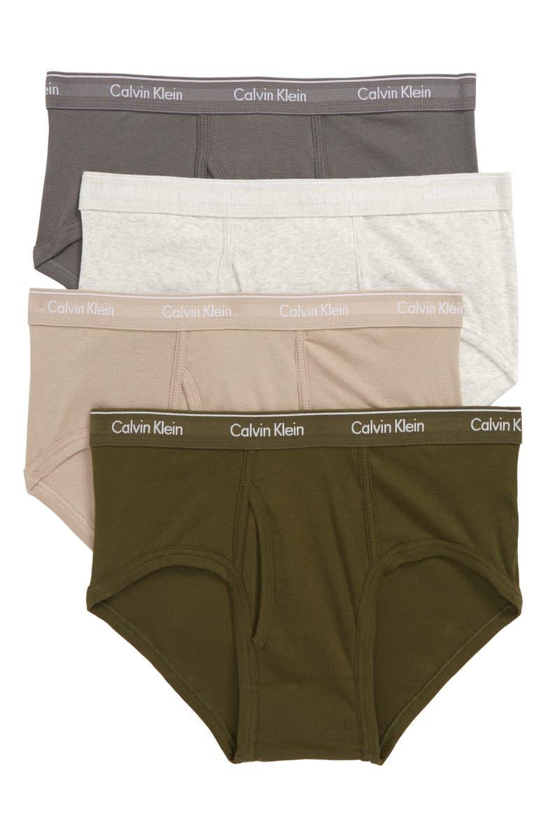 CALVIN KLEIN 4-Pack Cotton Briefs, Main, color, SNOW/ GREEN/ GREY/ TAN