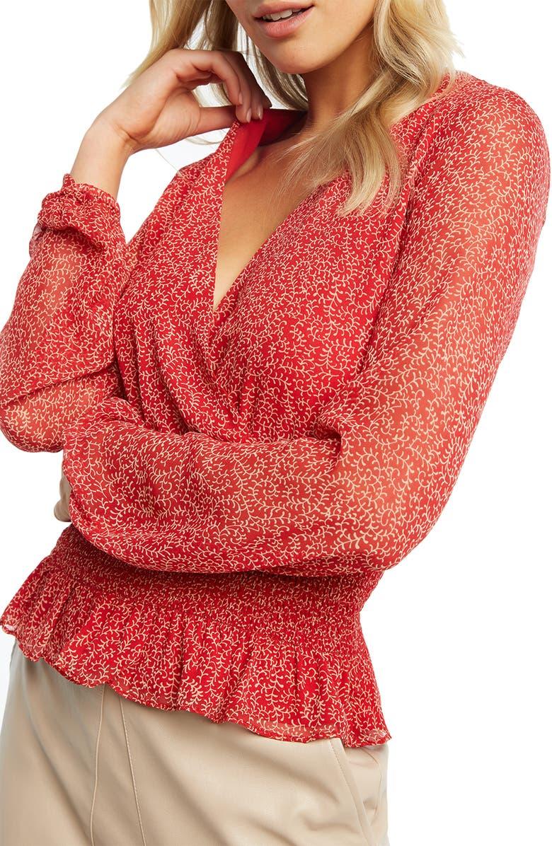 BARDOT Smocked Long Sleeve Peplum Blouse, Main, color, RED PAISLEY