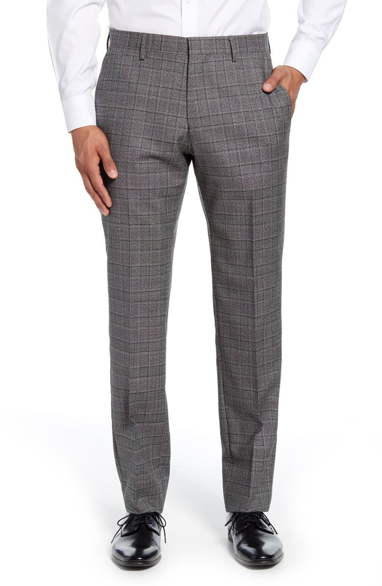 BOSS Genesis Flat Front Plaid Wool Trousers, Main, color, MEDIUM GREY