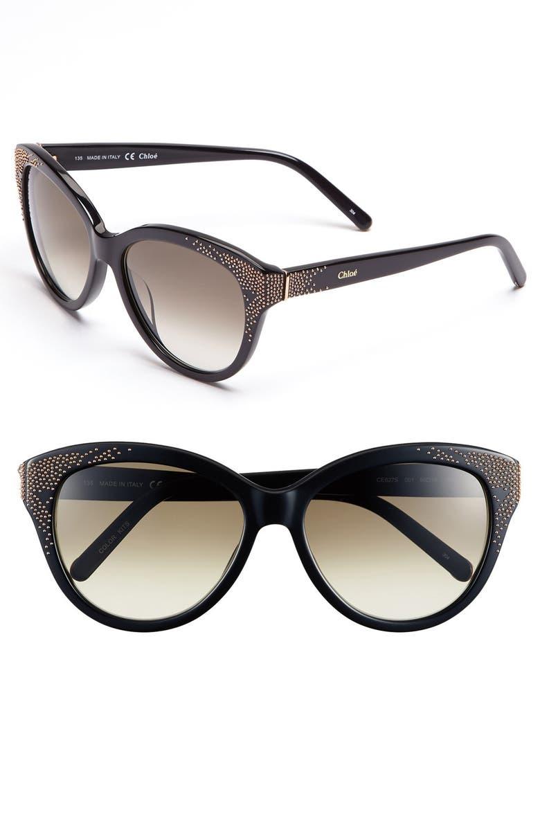 CHLOÉ 'Suzanna' 56mm Cat Eye Sunglasses, Main, color, 001