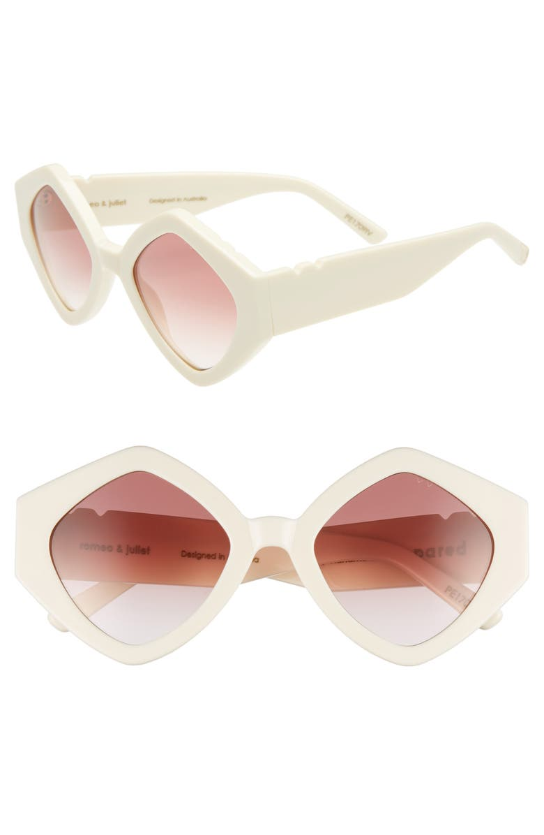 PARED Romeo & Juliet 52mm Sunglasses, Main, color, IVORY GRADIENT ROSE LENSES