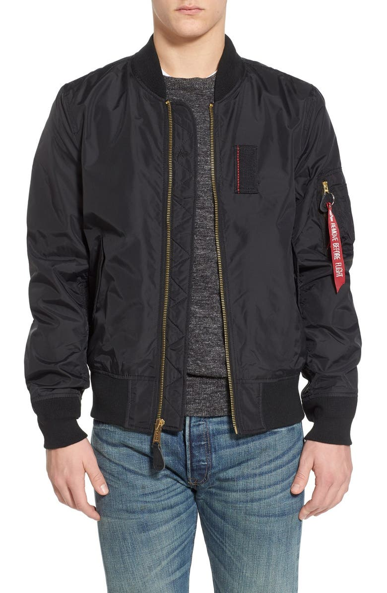 ALPHA INDUSTRIES 'Skymaster' Lightweight MA-1 Bomber Jacket, Main, color, 001