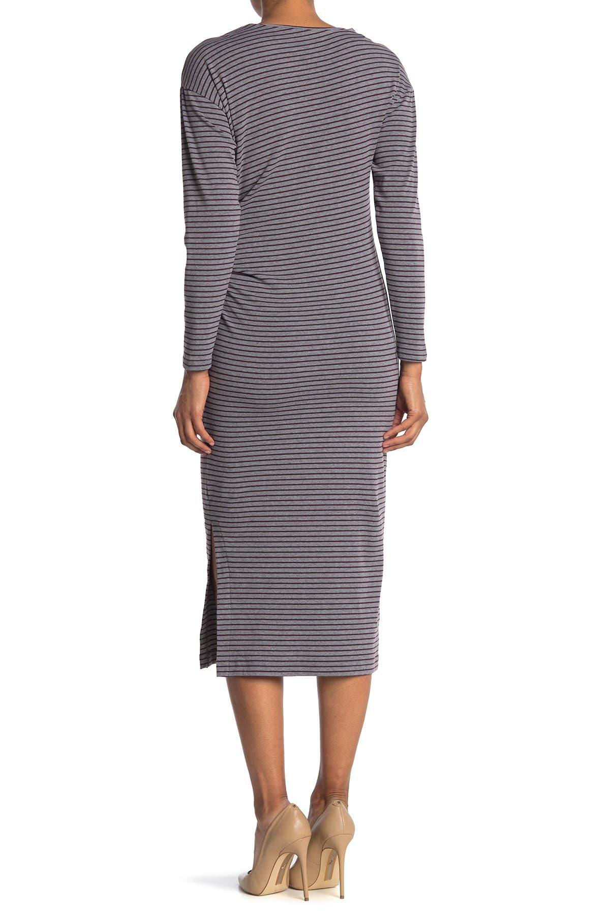 Image of MELLODAY Cozy Striped Long Sleeve Side Tie Midi Dress