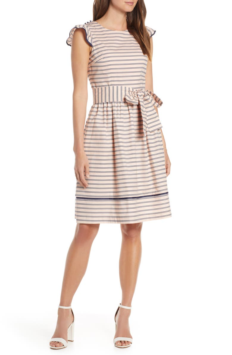 1901 Stripe Fit & Flare Dress, Main, color, 680