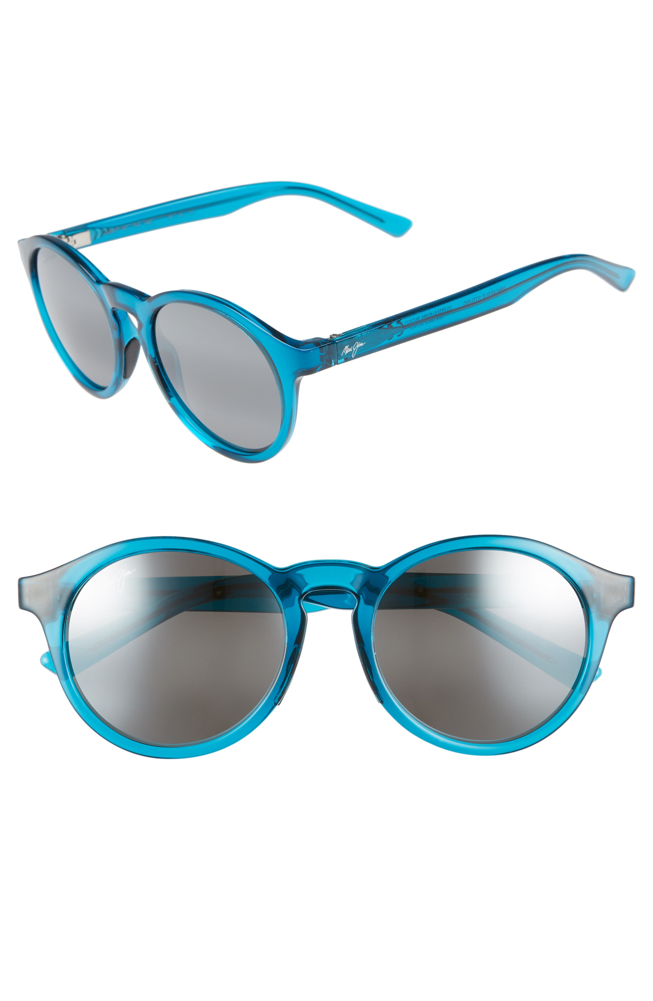 Maui Jim Pineapple 50Mm Polarized Round Sunglasses - Teal Green
