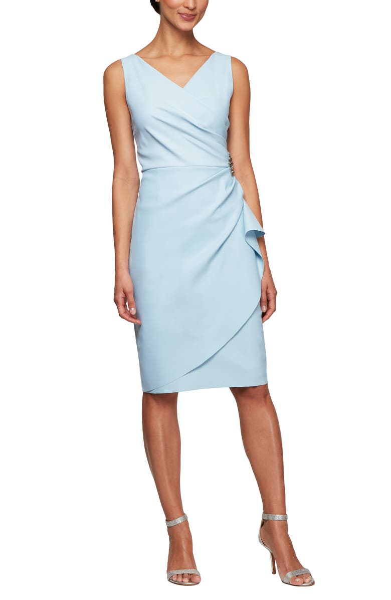 ALEX EVENINGS Side Ruched Dress, Main, color, LIGHT BLUE