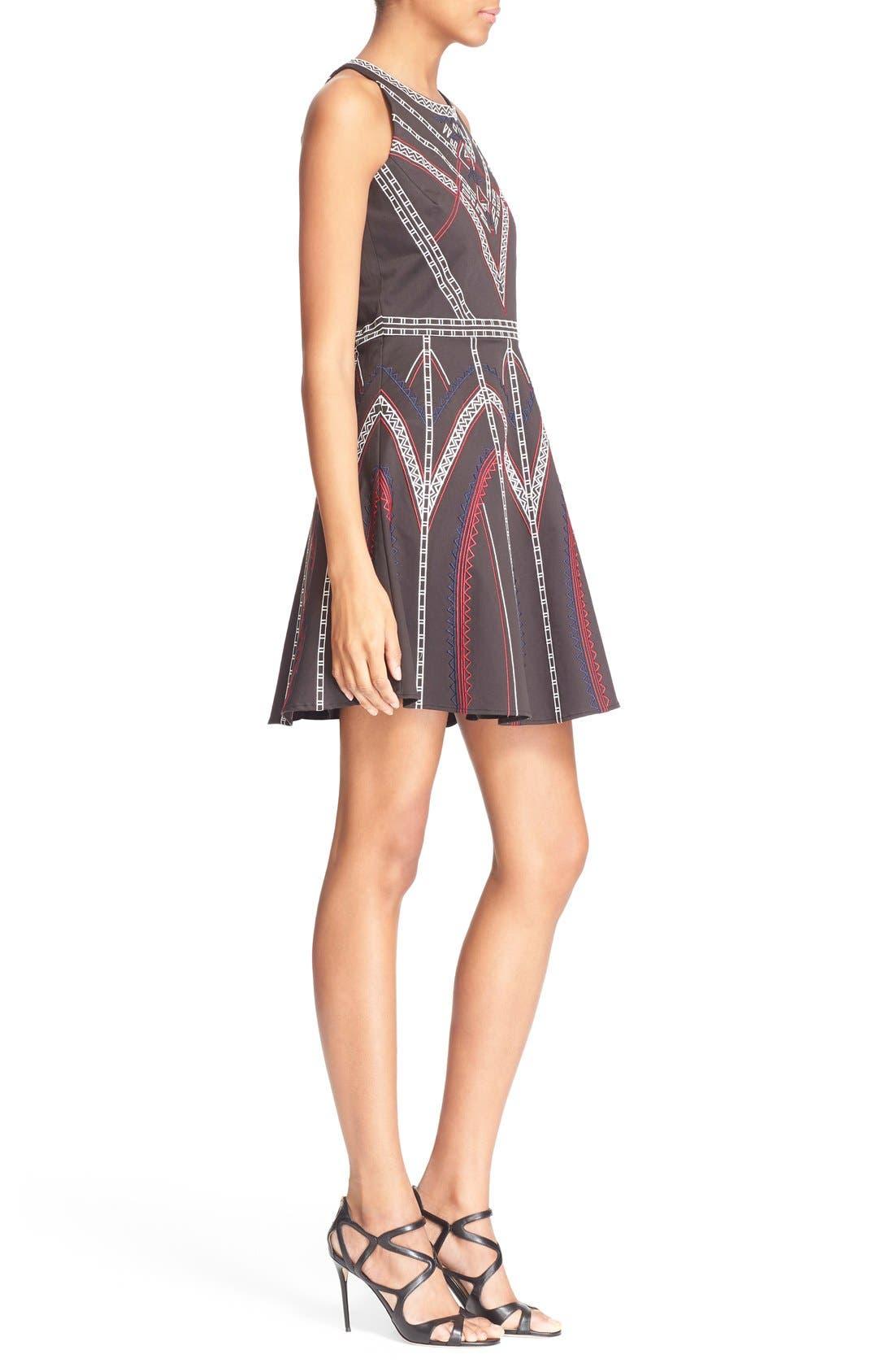 ,                             'Garnet' Embroidered Fit & Flare Dress,                             Alternate thumbnail 4, color,                             001