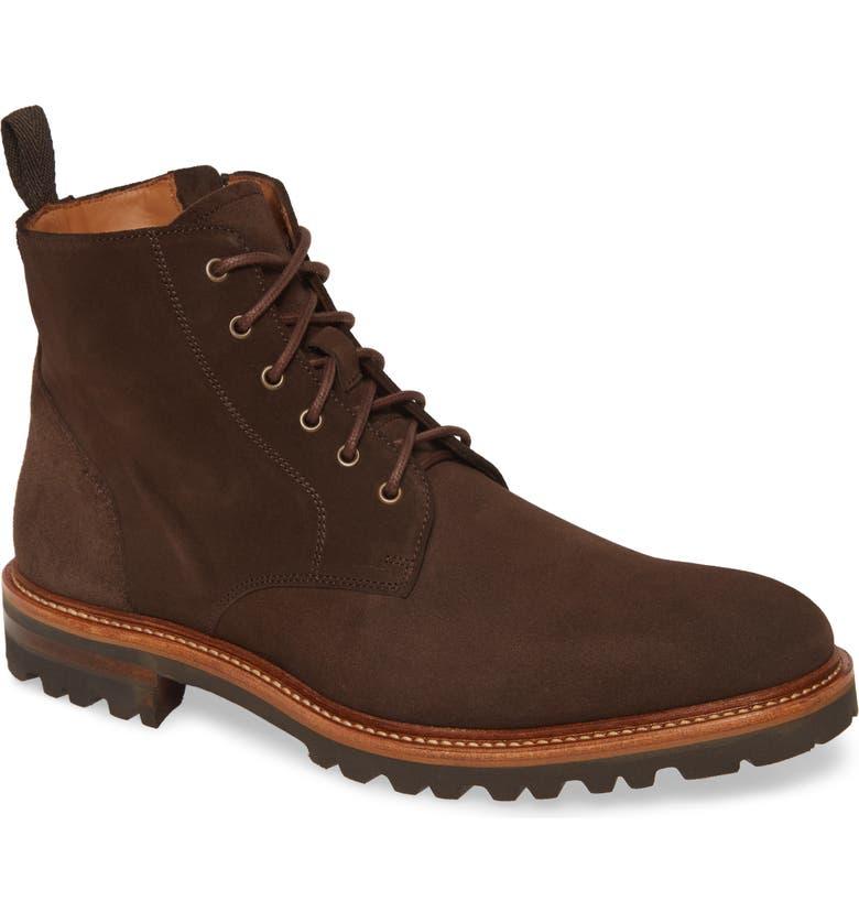 AQUATALIA Easton Plain Toe Boot, Main, color, DARK BROWN SUEDE