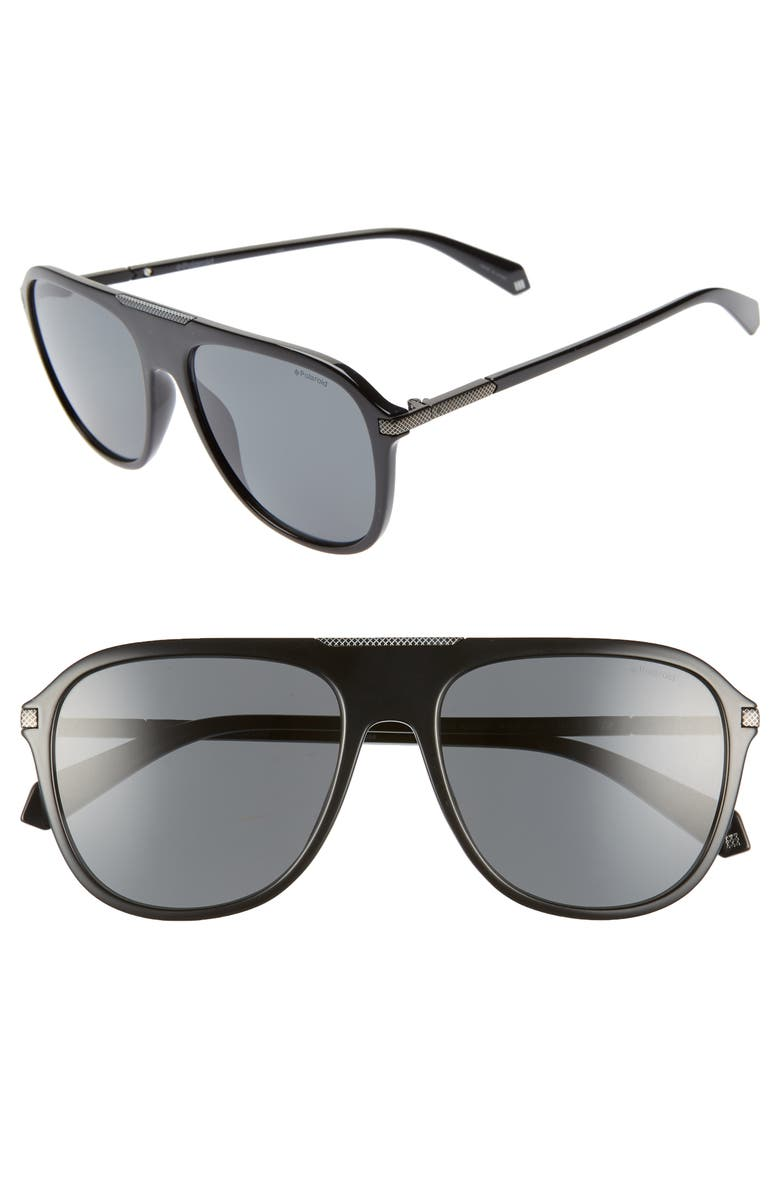 POLAROID 58mm Polarized Aviator Sunglasses, Main, color, 002