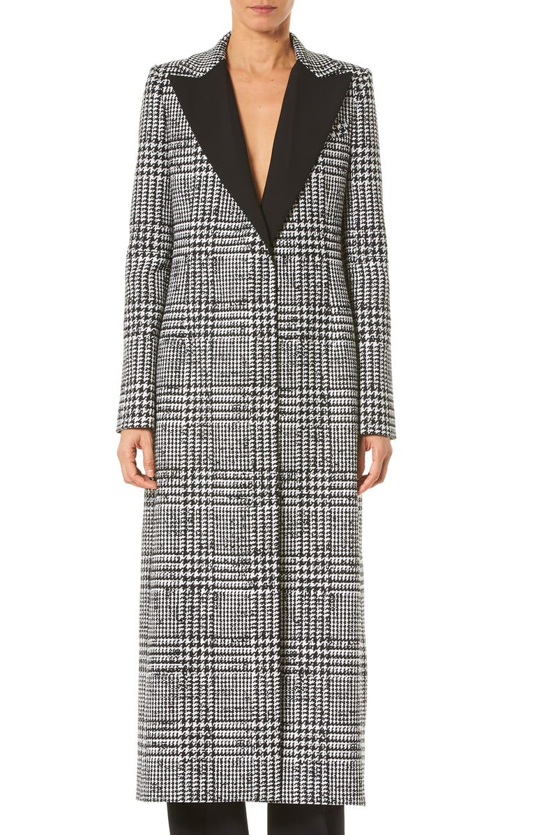 CAROLINA HERRERA Glen Plaid Wool & Silk Coat, Main, color, IVORY/BLACK