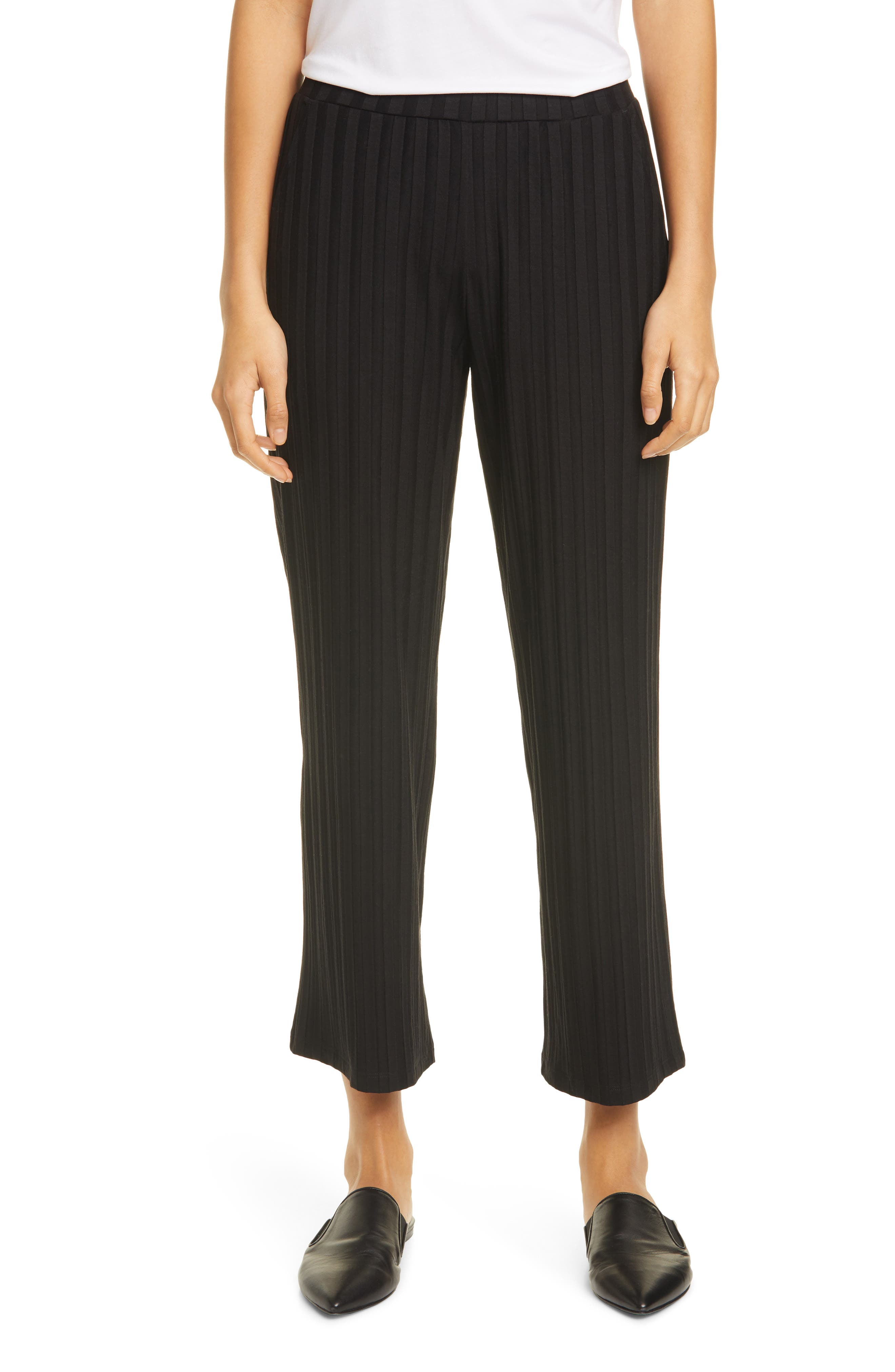 Image of Eileen Fisher Textured Stripe Ankle Straight Leg Pants