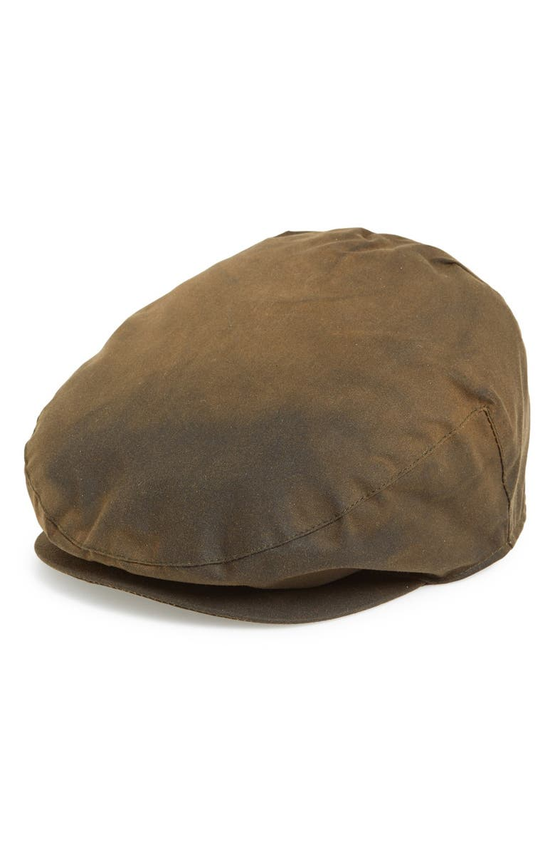 BARBOUR Waxed Cotton Driving Cap, Main, color, OLIVE