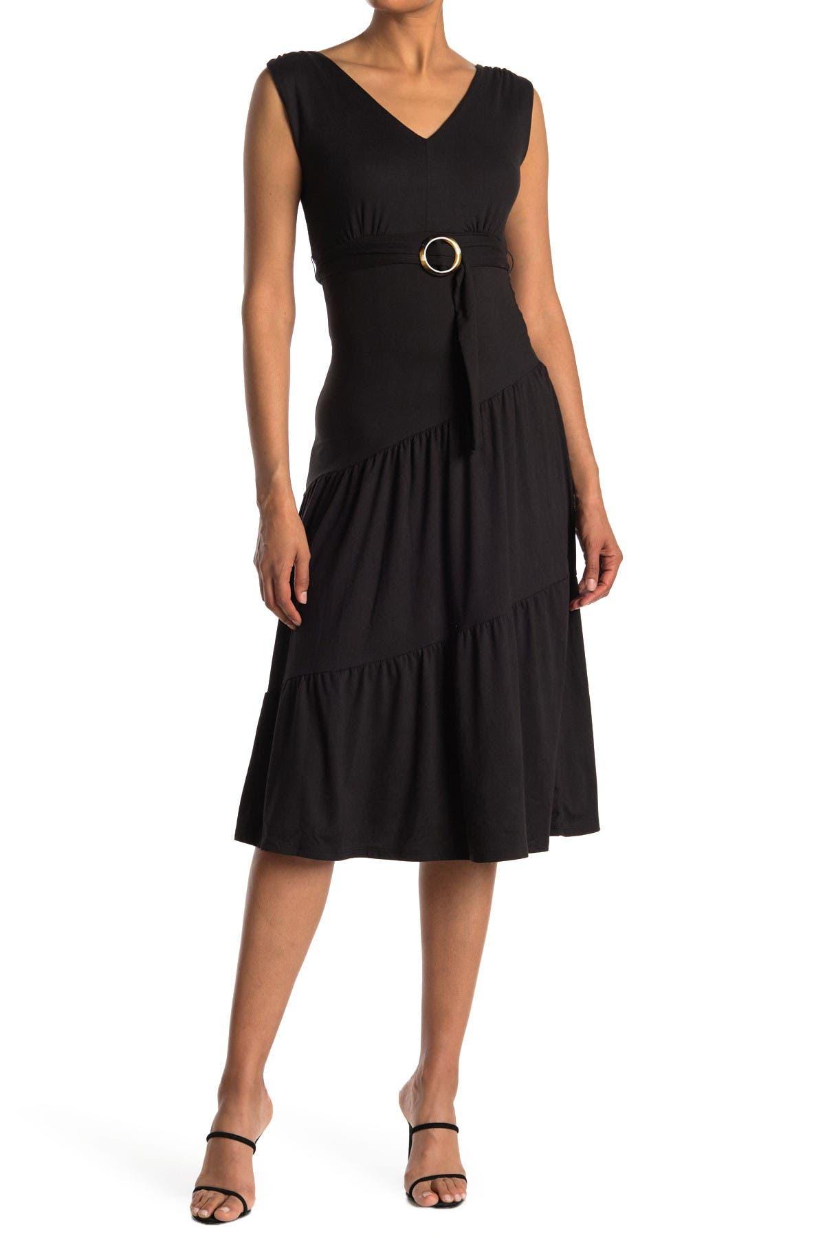 Image of Velvet Torch Belted Tiered Hem Midi Dress