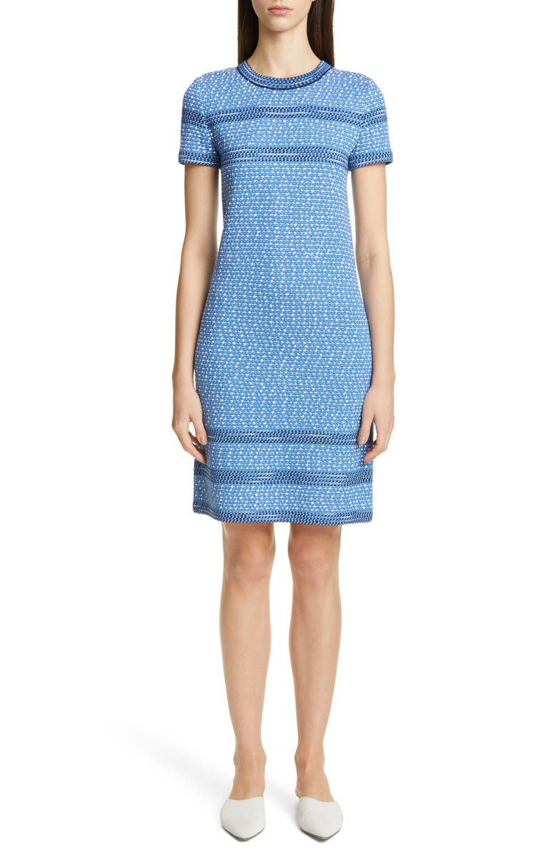ST. JOHN COLLECTION Engineered Coastal Texture Tweed Knit Dress, Main, color, WHITE/ LAKE MULTI