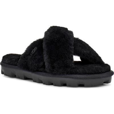 UGG Fuzzette Genuine Shearling Slipper, Black