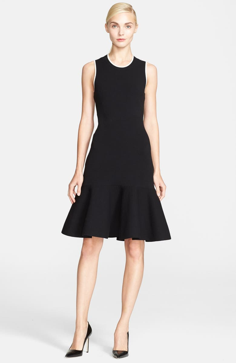 KATE SPADE NEW YORK 'fluted' stretch sweater dress, Main, color, 001