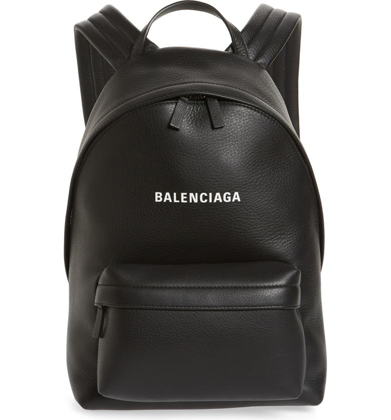 BALENCIAGA Everyday Calfskin Leather Backpack, Main, color, BLACK/ WHITE