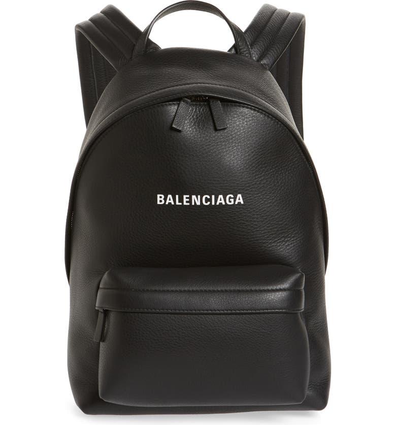 BALENCIAGA Everyday Calfskin Leather Backpack, Main, color, 001