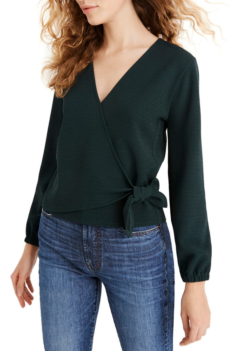 MADEWELL Texture & Thread Crepe Wrap Top, Main, color, 303