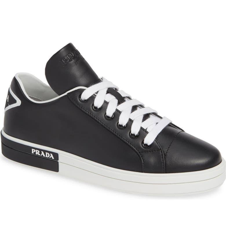 PRADA Logo Platform Sneaker, Main, color, BLACK/ WHITE
