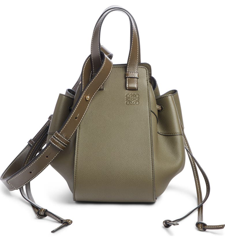 LOEWE Small Hammock Calfskin Leather Shoulder Bag, Main, color, KHAKI GREEN