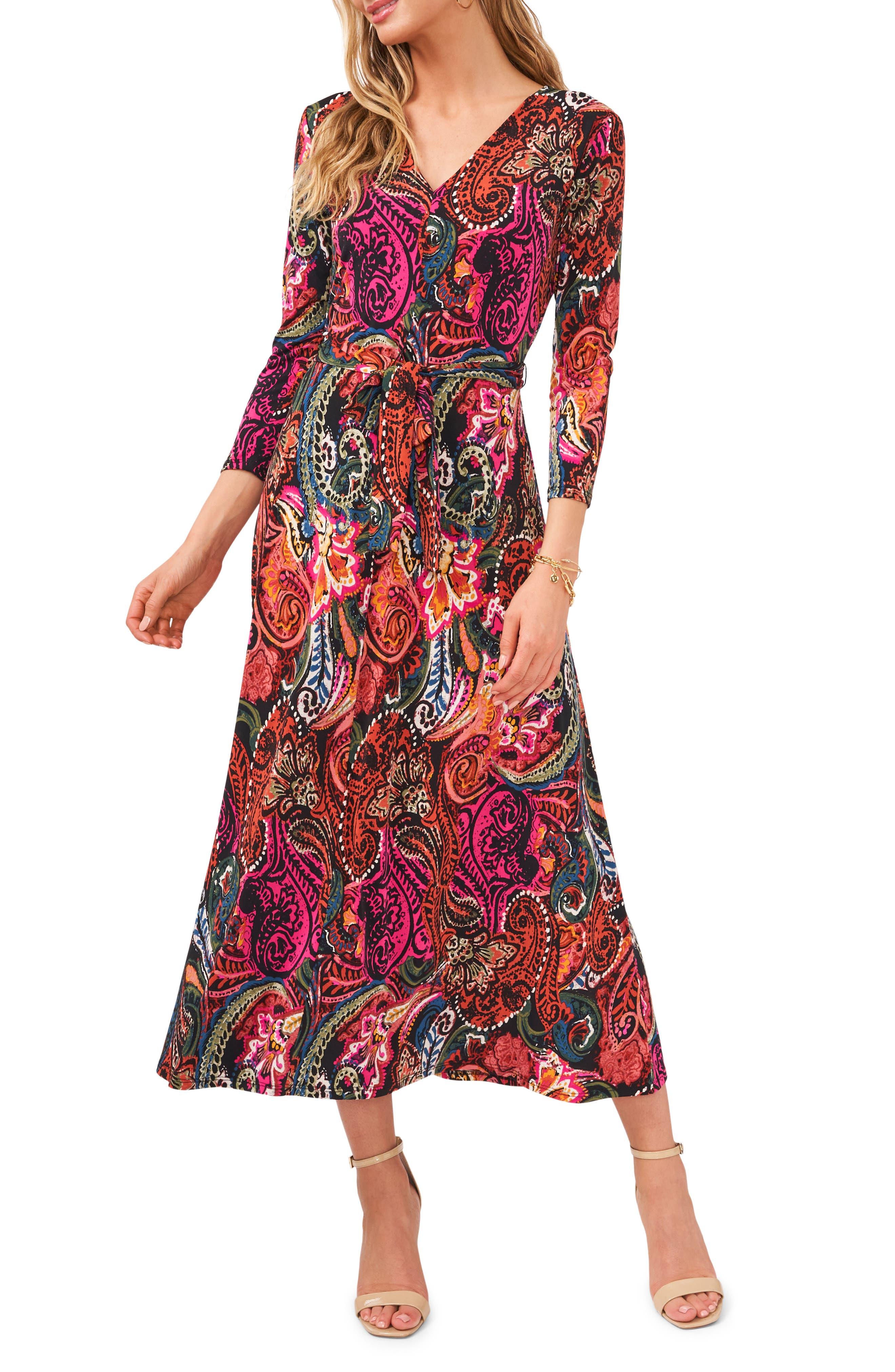 Three-Quarter Sleeve Midi Dress