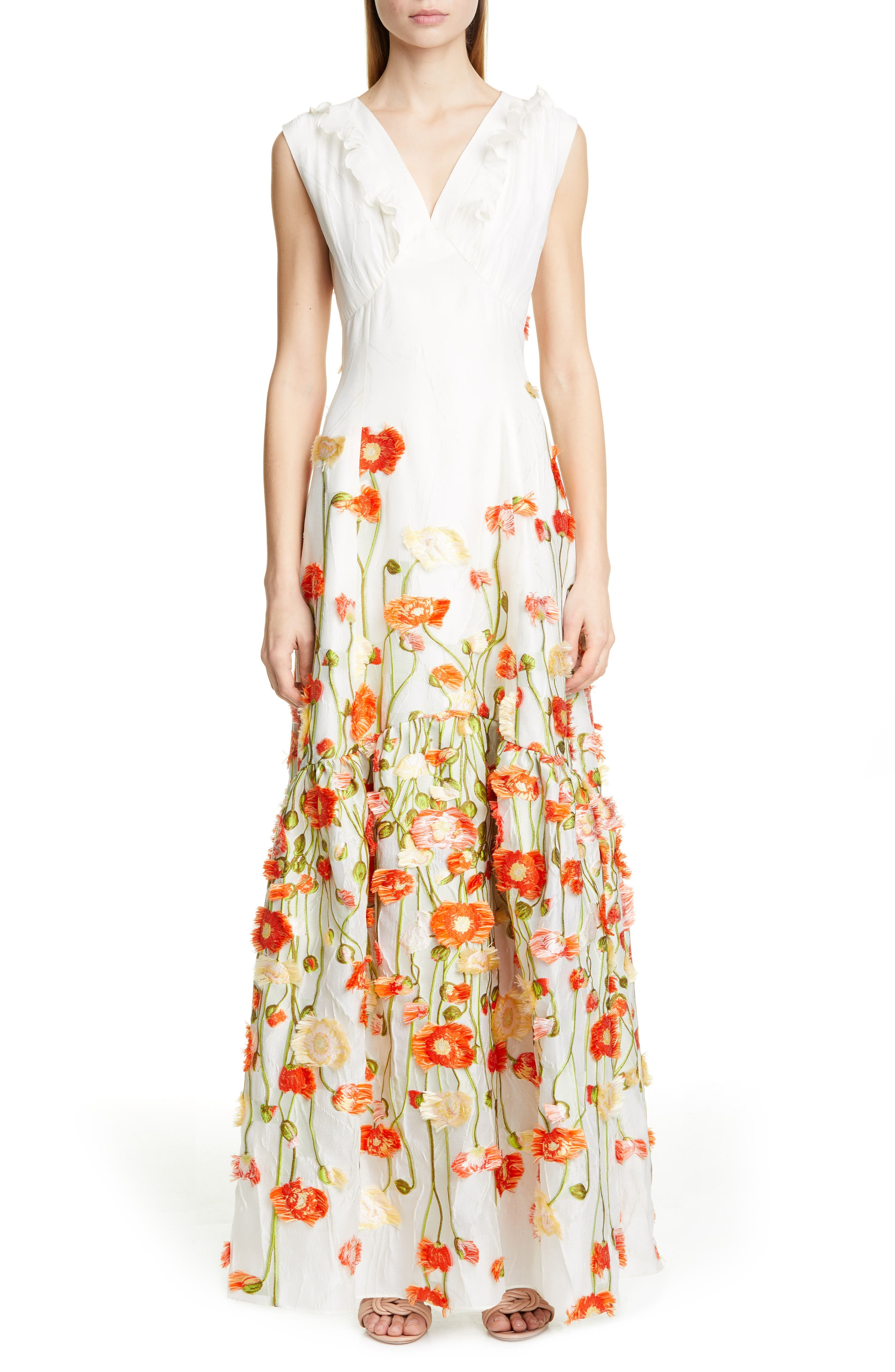 Malene Oddershede Bach Papaver Floral Fil Coupe Jacquard Gown, White