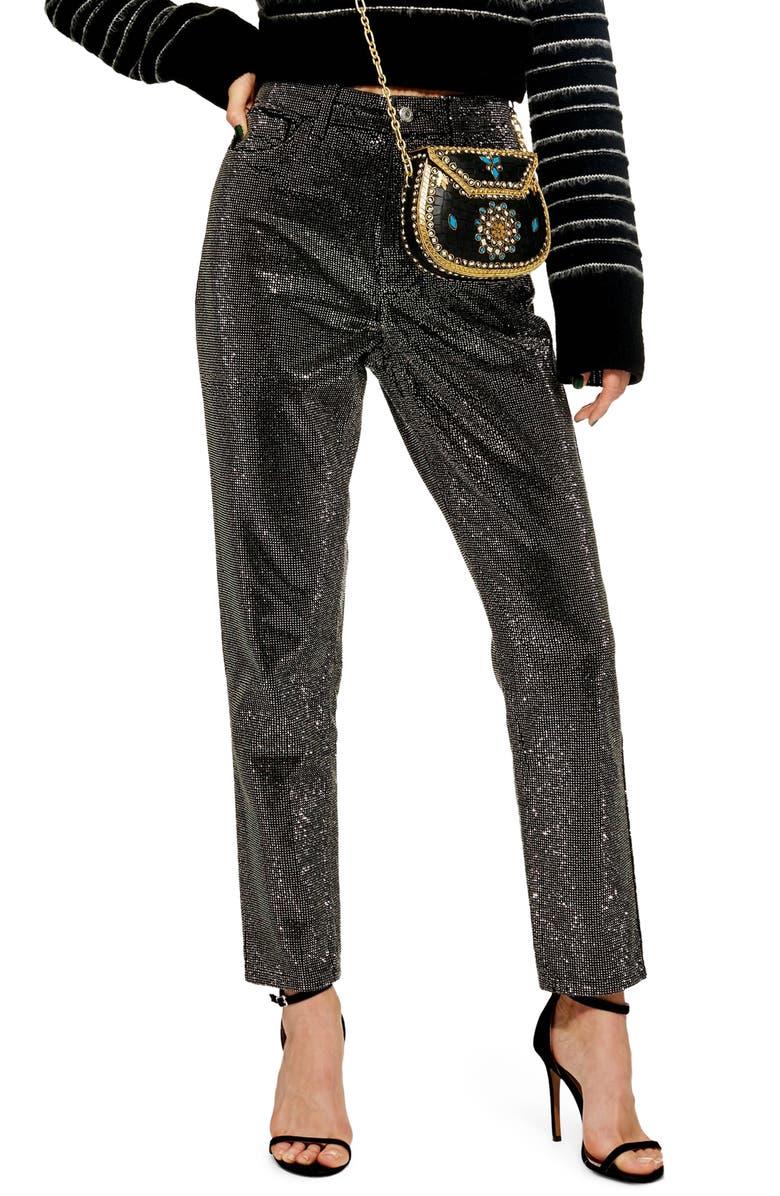 TOPSHOP Pinstud Mom Jeans, Main, color, 001