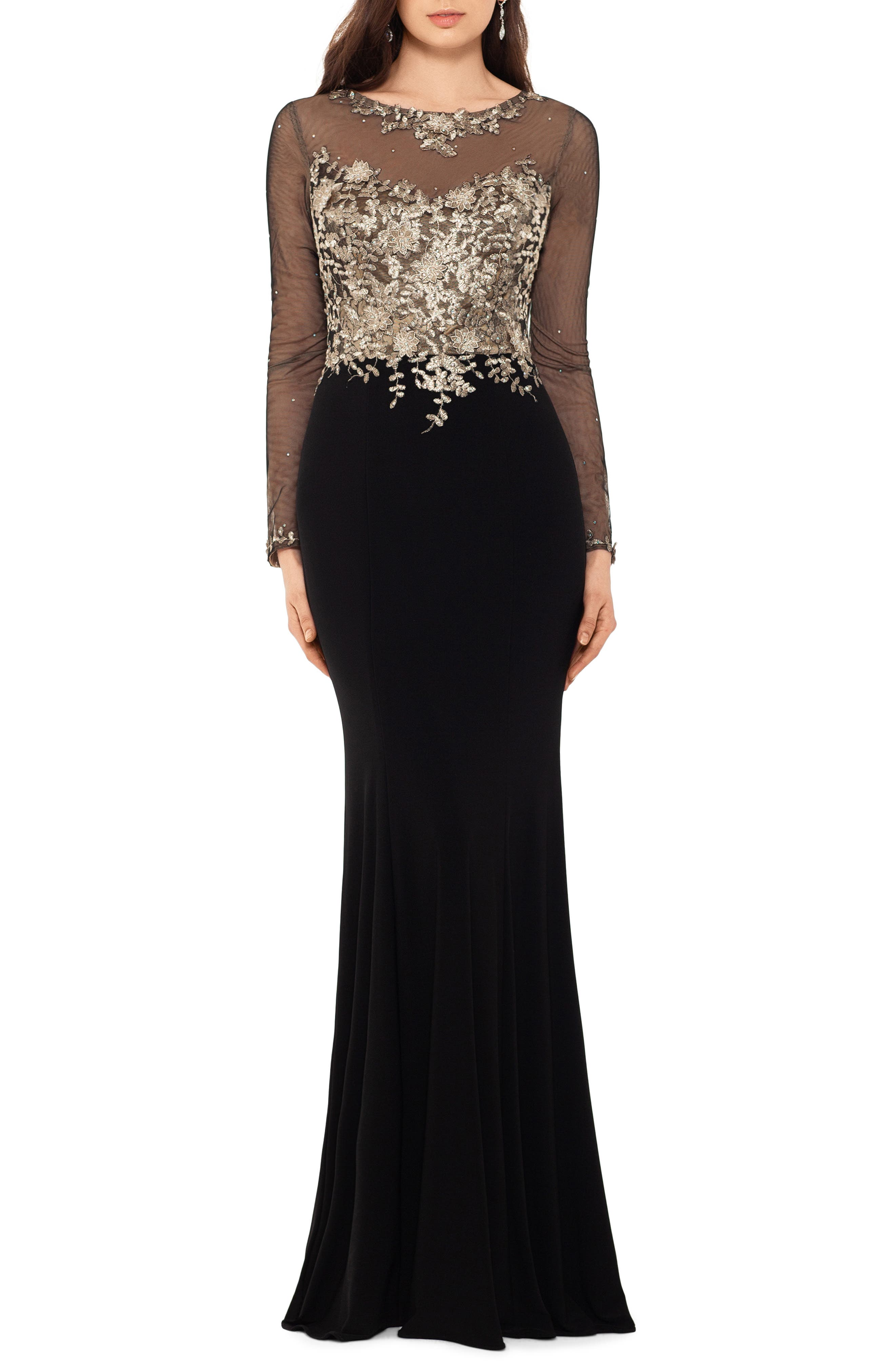 Xscape Embellished Long Sleeve Trumpet Evening Gown, Black