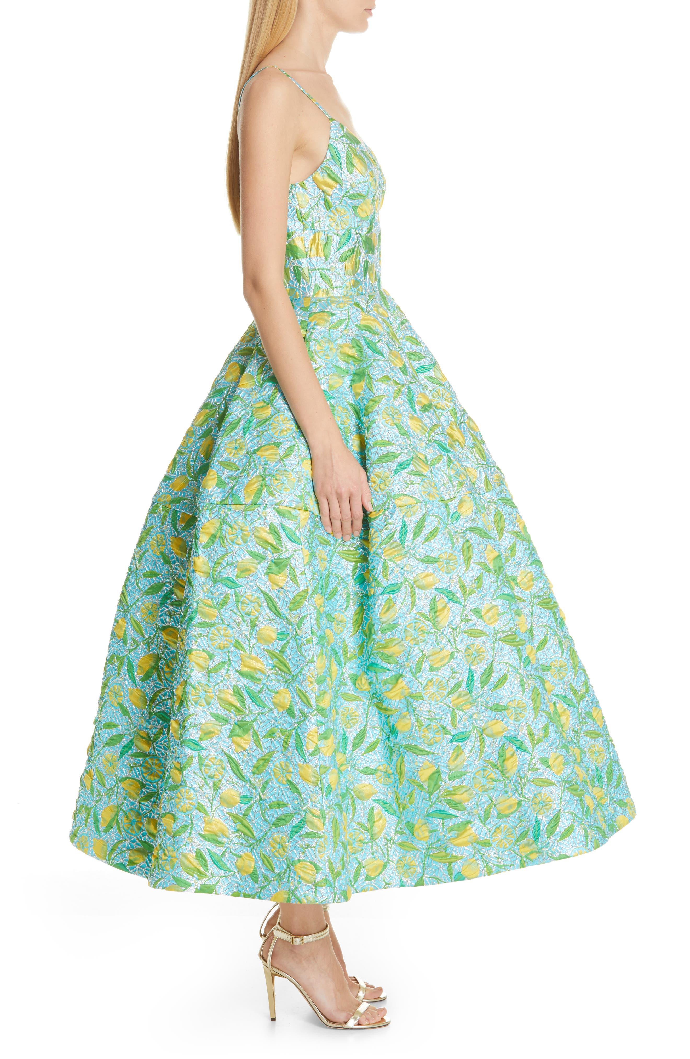 ,                             Floral Evening Dress,                             Alternate thumbnail 4, color,                             LEMON BROCADE