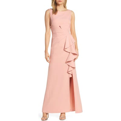 Petite Eliza J Ruffle Front Gown, Pink