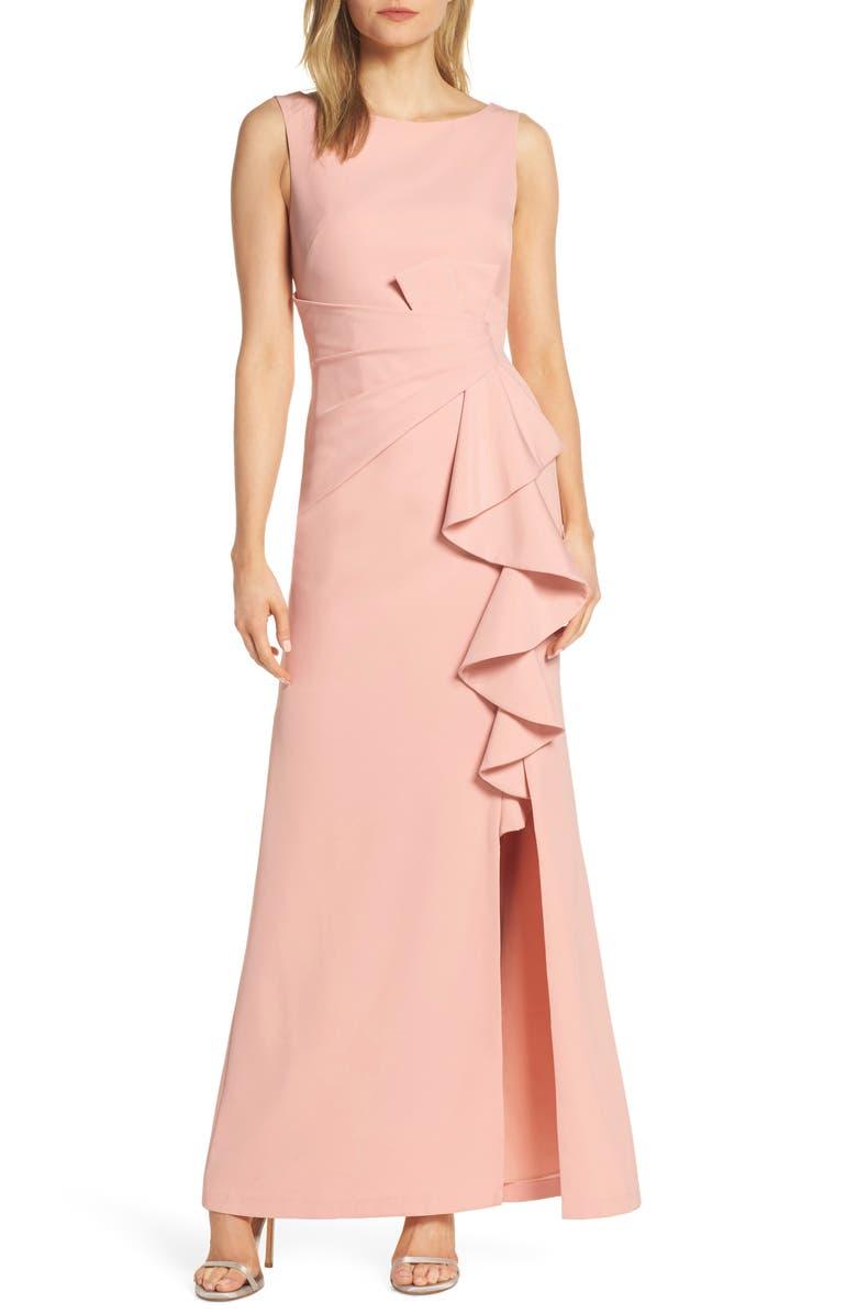 ELIZA J Ruffle Front Gown, Main, color, BLUSH