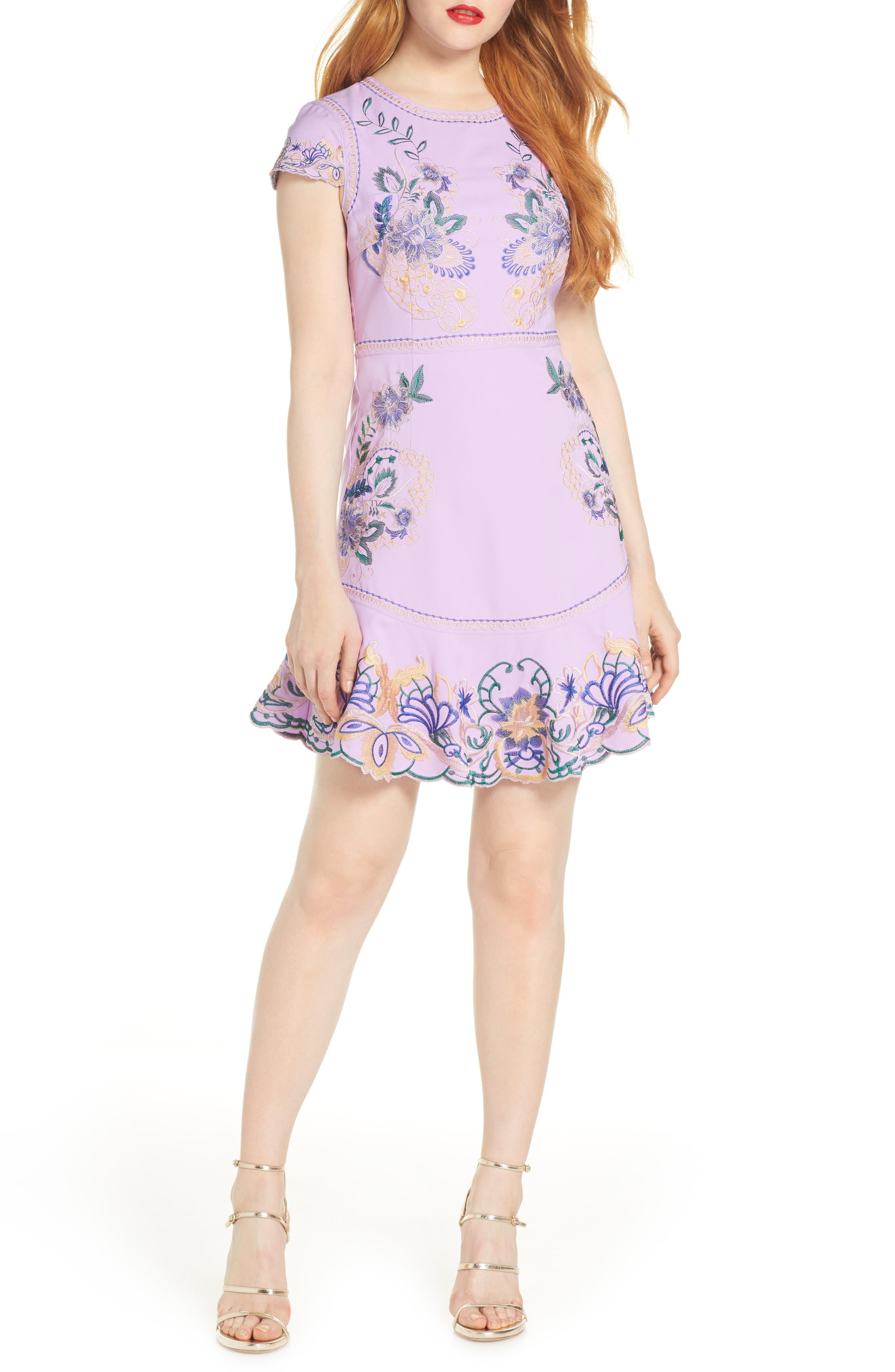Foxiedox Embroidered Minidress, Purple