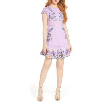 Foxiedox Embroidered Minidress, Purple