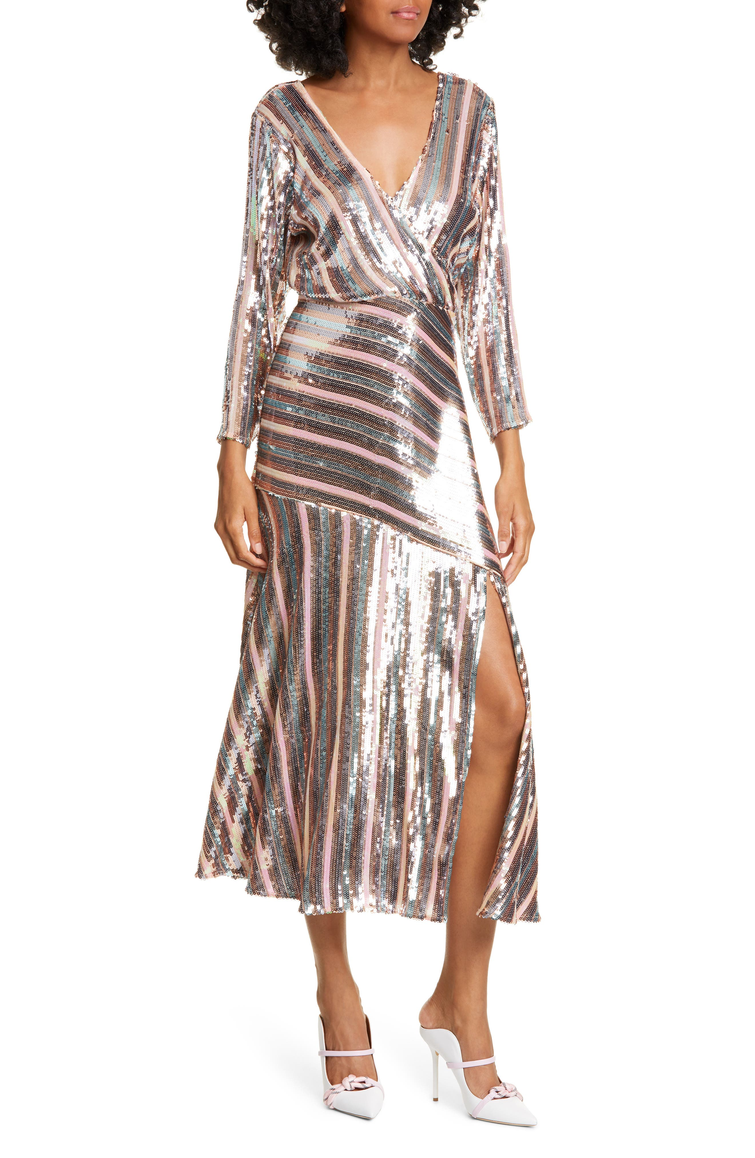 70s Prom, Formal, Evening, Party Dresses Womens Rixo Tyra Sequin Stripe Dress $335.98 AT vintagedancer.com