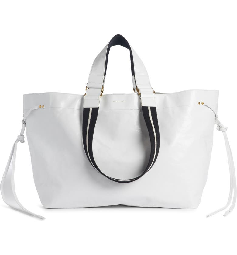 ISABEL MARANT Wardy Leather Shopper, Main, color, WHITE