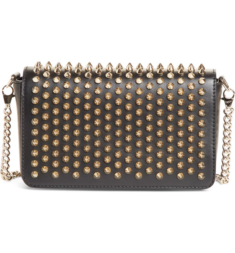 CHRISTIAN LOUBOUTIN Zoompouch Spiked Leather Clutch, Main, color, BLACK/ GOLD