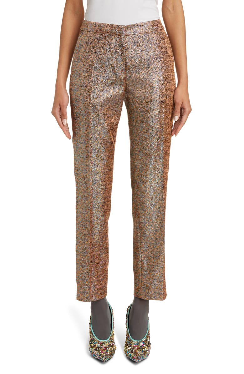 DRIES VAN NOTEN Poumas Metallic Ankle Trousers, Main, color, CAM