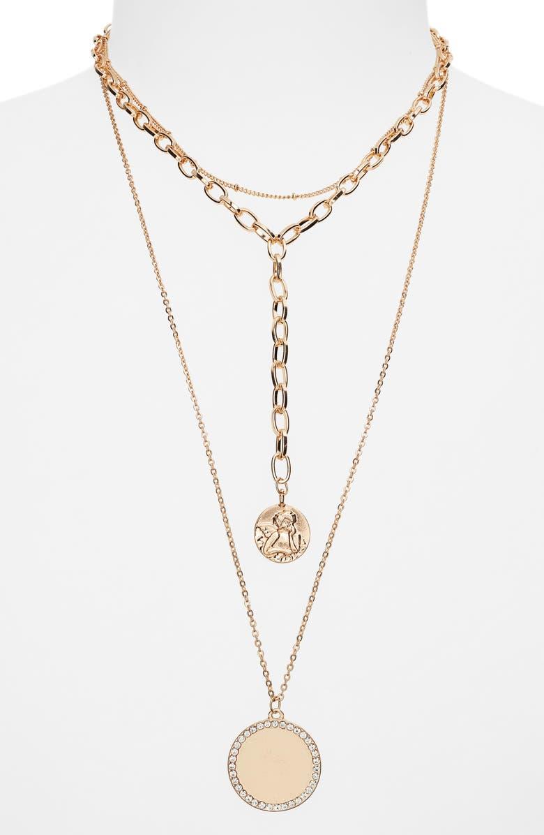 BP. Triple Layer Pavé Y-Necklace, Main, color, CLEAR- GOLD