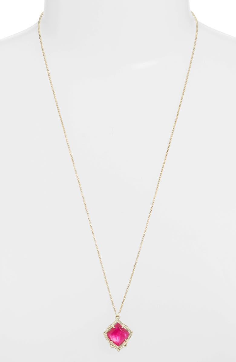 KENDRA SCOTT Kacey Adjustable Pendant Necklace, Main, color, AZALEA ILLUSION/ GOLD